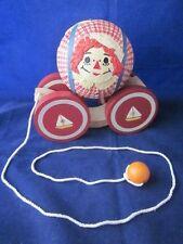 BRIERE Folk Art Pull Toy 1991 Raggedy Andy Ball & Cart #1628 Sailboat Wheels