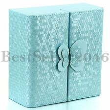 Fashion Womens Blue Butterfly Jewelry Box Necklace Rings Organizer Case Holder