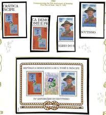 ST. THOMAS & PRINCE BOY SCOUTS SCOTT #658-59 STAMP SET & SHEETS PERF & IMP 1982
