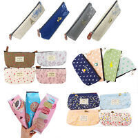 1x Various Zipper Stationery Pencil Case Cosmetic Make Up Bag Pouch Storage UK