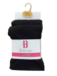 2 Pack Girls 70 Denier Black Tights Back To School Age 7 - 14 Years