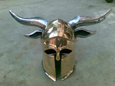 Brass Medieval Viking Barbarian CORINTHIAN Helmet with steel-horns for cosplays