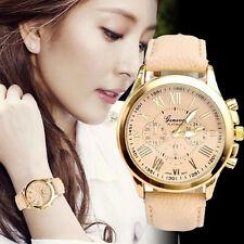 New Fashion Women's Date Roman Numerals Faux Leather Analog Quartz Wrist Watch