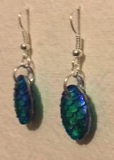 Mermaid Egg / Dragon Egg Scales Silver Plt Charm Earrings Blue Green D004