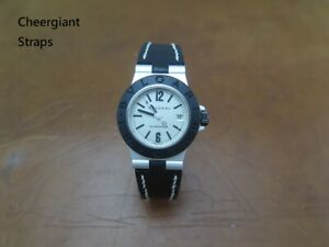 Bvlgari Aluminium AL29A Ladies leather strap notched lug end Cheergiant寶格麗牛皮手工錶帶