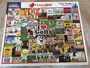 """White Mountain """"I Love Golf"""" 1000 Piece Puzzle Larger Pieces"""