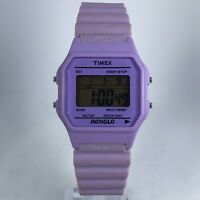 Timex Womens T2N267 Lila Purple Band Day Date Indiglo Digital Watch