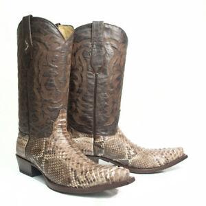 LOS ALTOS MEN RUSTIC BROWN GENUINE PYTHON SNAKE COWBOY SNIP-TOE BOOT 945785 EE+