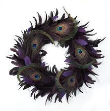 "18"" Door Wreath with DK. PURPLE Rooster & Peacock Feathers"