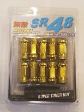Muteki SR48 Extended Open Ended Forge Steel Lug Set. 20pc w/key. Gold 12x1.5