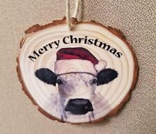 Merry Christmas real Bark Wood Slice Ornament dairy cow custom country decor moo