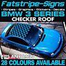 BMW 3 SERIES GRAPHICS CHECKER ROOF DECALS STICKERS STRIPES E46 E90 M3 M SPORT