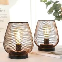 Set of 2 Battery lights Metal Cage Style Desk Table Lamp Cordless Accent Light