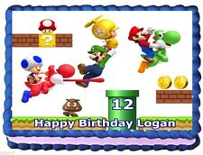 SUPER MARIO BROS IMAGE EDIBLE CAKE TOPPER BIRTHDAY DECORATIONS