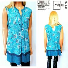 NEW M&S TOP UK 18 TURQUOISE SLEEVELESS THIN JERSEY COLLARLESS FLORAL PRINT #46