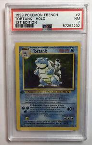 Pokemon 1999 - Base Set - 1st Edition (French) BLASTOISE (TORTANK) PSA 7 NM