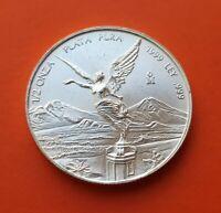 @RARA@ MEXICO 1/2 ONZA 1999 LIBERTAD ANGEL PLATA KM.612 Oz Silver TROY Unze UNC
