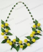 LIMONI FRUTTA E FOGLIE VERDE MURANO glass bead collana vintage perle lemon&leaf