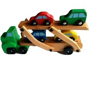 Melissa & Doug Children's Wooden Car Carrier Transporter Toy Truck