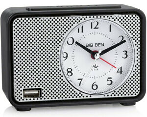 Westclox Big Ben Analog Alarm Clock w/ Fast 2.0 Amp USB Charging Port 75109