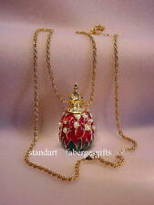 "Russian Empress Alexandra Romanov ""Lily of Valley"" Egg Pendant Necklace"