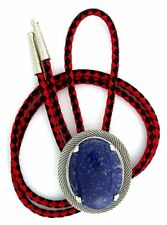 Natural Oval 40x30 Lapis Lazuli Cab Cabochon Gemstone Mesh Bolo Tie Cord Tips