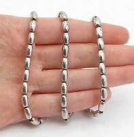 925 Sterling Silver - Vintage Minimalist Barrel Bead Shiny Chain Necklace- N3651