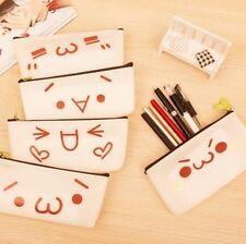 Cute Emoji PVC Plastic Pencil Cases Cosmetics Make Up Bags Pen Pouches