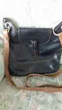 Black Leather Messenger Bag with Tan Trim by Coccinelle