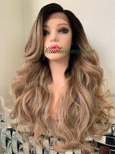 ash Honey blonde lace front wig Side Part Wavy Layered Heat Ok Ombré 24 Long