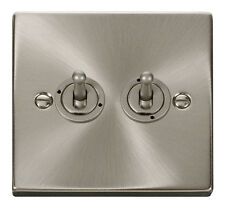 Deco  Victorian Satin Chrome 2 gang 2 way 10AX Toggle Light Switch - VPSC422