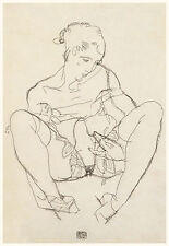 Egon Schiele Drawing Reproductions: Seated Woman in Chemise - Fine Art Print