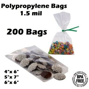 200 Super Clear Poly Bakery Cello Candy Bag Cookie Flat Polypropylene Favor Bags