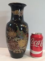"Vintage Japanese Porcelain Vase 10-1/2"" Tall Black & Gold Peacock Design Japan"