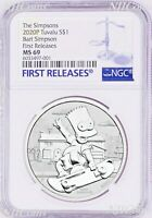 2020 Bart Simpson Simpsons $1 1oz .9999 Silver COIN NGC MS69 FR