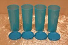 New Set of 4 Peacock Tupperware Beautiful 16oz Tumblers with lids