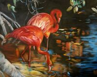 """Flamingoes"" Realism, Original Oil Painting ART DECO  ONE OF A KIND"