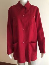 BLUNAUTA CAMICIA SHIRT BLOUSE SIZE 46 100% LINO LINEN MADE IN ITALY ROSSO RED