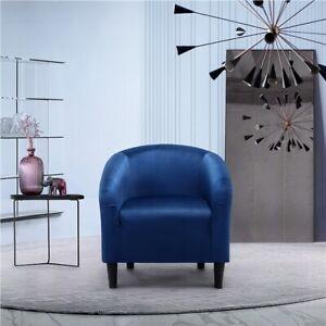Blue Upholstered Barrel Chair Velvet Tub Chair