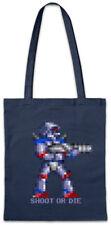 SHOOT OR DIE Stofftasche Einkaufstasche Turrican Game Sprite Amiga Figur Robot