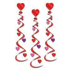 Party Decorations Valentines Day Hearts Hanging Whirls Pack of 3