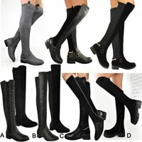 Womens Flat Over The Knee Thigh Stretch Suede Boots Riding Low Heel Pull On Size