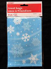8 x Natale Blu & Bianco Fiocchi di Neve Sacchetti per Feste Regalo Biscotti