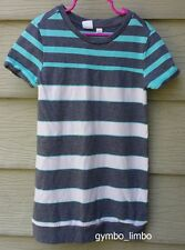Gap Kids Girls 6 7 Gray Aqua Contrast Striped Tunic Sweatshirt DRESS Crew Neck