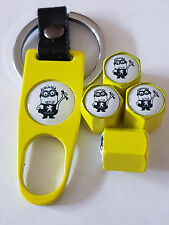 PEUGEOT MINIONS YELLOW DUST VALVE CAPS AND SPANNER ALL MODELS BOXED 208 308 508