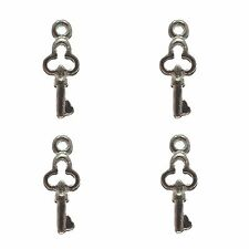 30 clés en métal plaqué argent charmes de mariage 17 x 7 mm fabrication de bijoux
