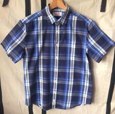 PENQUIN HERITAGE SLIM FIT Mens M Shirt Blue Plaid Short Sleeve SUMMER VGC