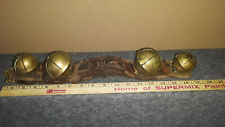 ANTIQUE LARGE SLEIGH HORSE BELLS 4 ON ORIGINAL LEATHER STRAP OLD LOOK DOOR