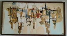Mid Century Modern Abstract Impressionist Oil Painting by Sylvia Farrer Listed