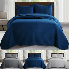 Quilted Polyester Washable Embossed Pattern Bedspread & Pillowcases Bed Set